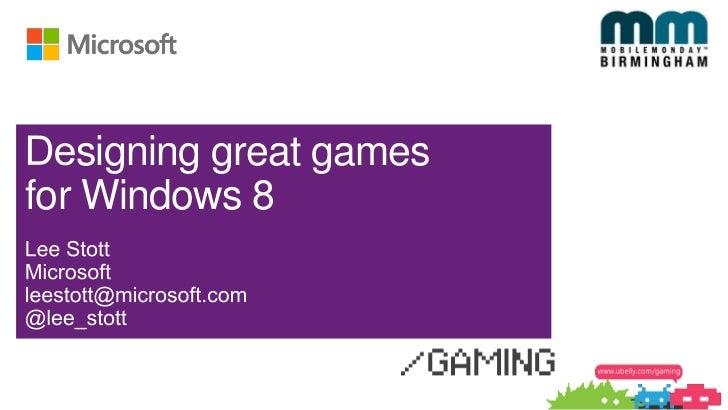 signing great gamesfor Windows 8