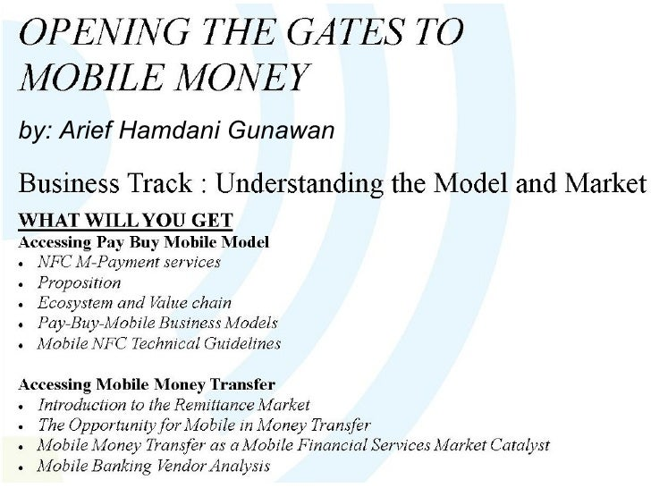 Mobile Money Business Track: understanding the Model and Market