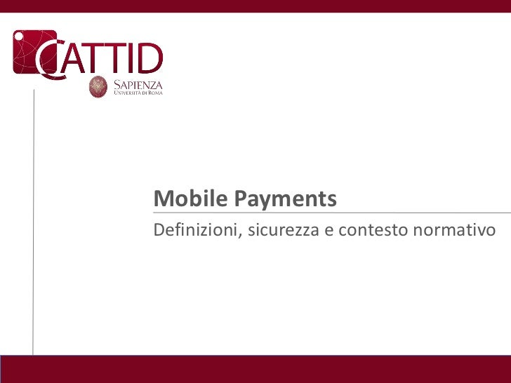 Mobile payments definizioni sicurezza e contesto normativo dic2010
