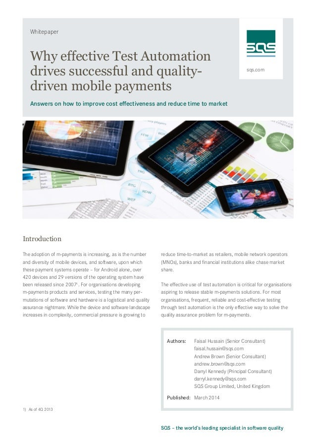 sqs.com Whitepaper SQS – the world's leading specialist in software quality Why effective Test Automation drives successfu...