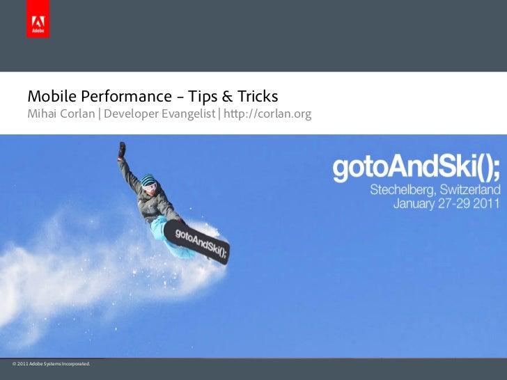Adobe AIR - Mobile Performance – Tips & Tricks
