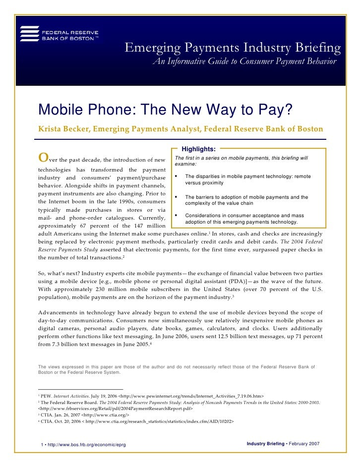 Mobile phone - The new way to pay