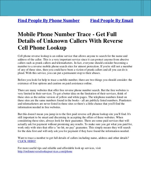 Find People By Phone Number Find People By Email Mobile Phone Number Trace - Get Full Details of Unknown Callers With Reve...