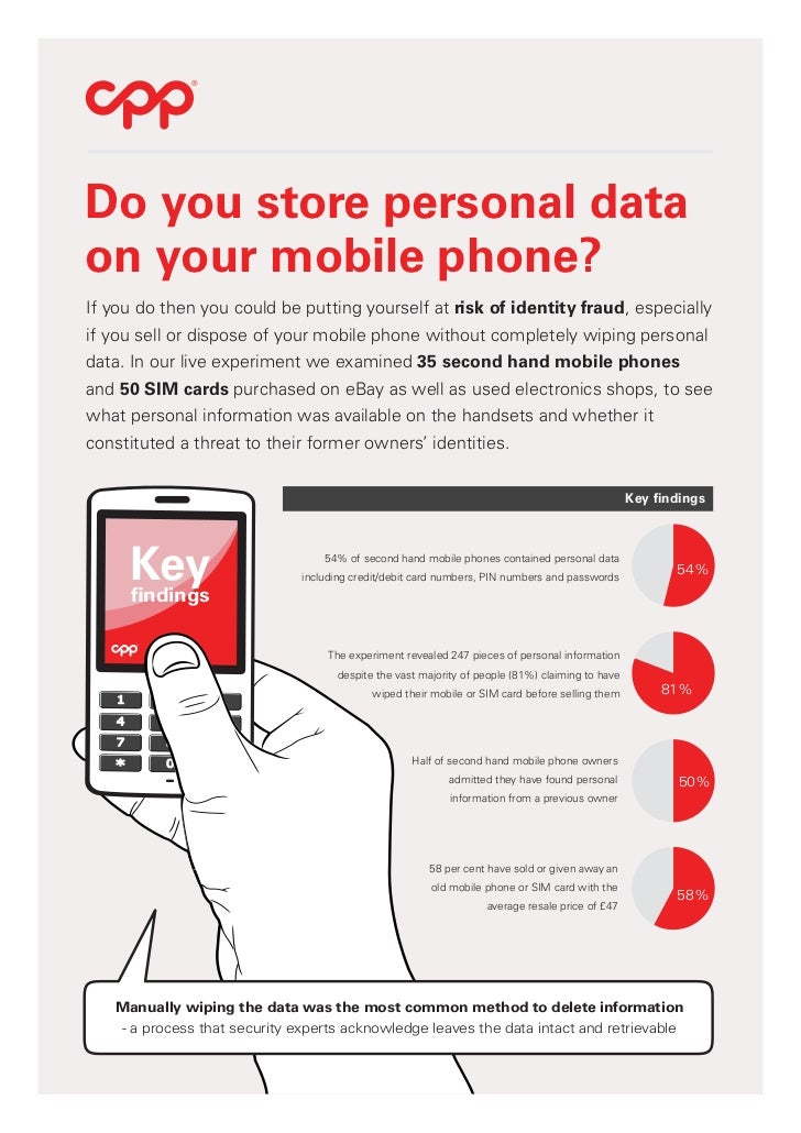 ®Do you store personal dataon your mobile phone?If you do then you could be putting yourself at risk of identity fraud, es...