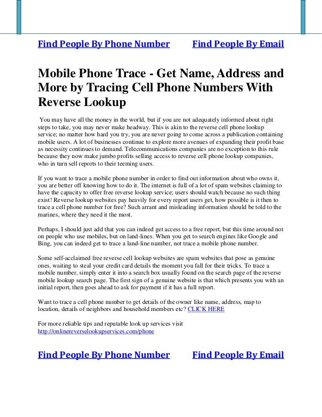 Mobile Phone Trace - Get Name, Address and More by Tracing Cell Phone Numbers With Reverse Lookup