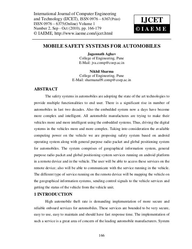 Mobile safety systems for automobiles