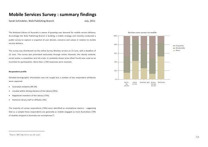 Mobile Services Survey : summary findingsSarah Schindeler, Web Publishing Branch                                          ...