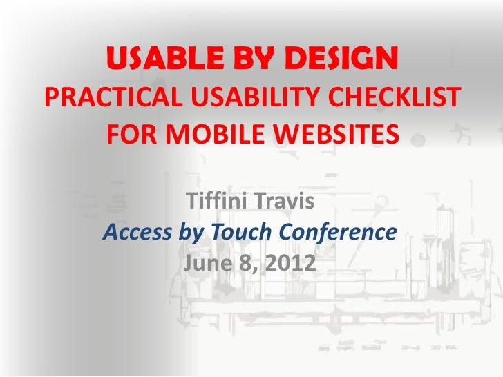 Mobile site usability