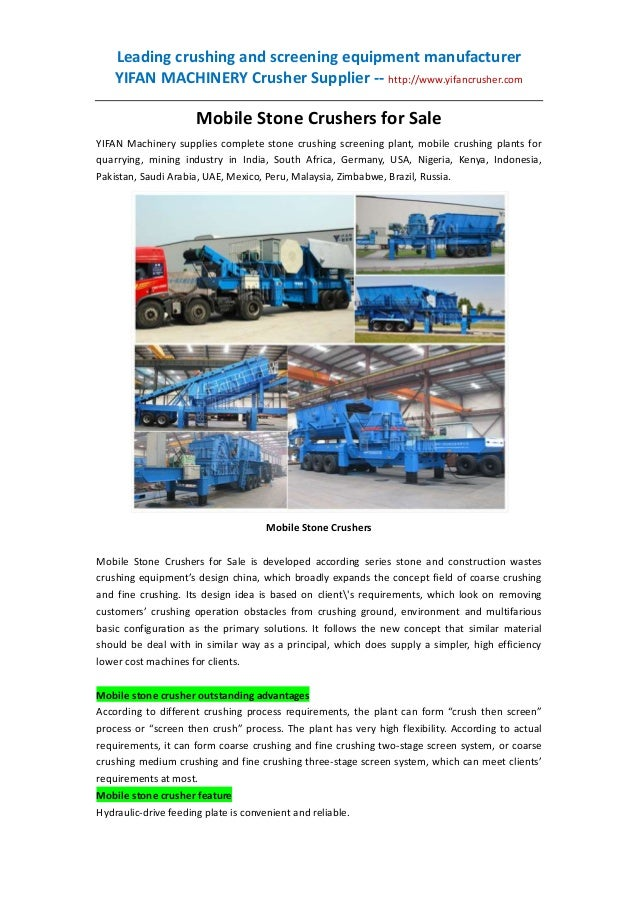 Leading crushing and screening equipment manufacturer YIFAN MACHINERY Crusher Supplier -- http://www.yifancrusher.com  Mob...