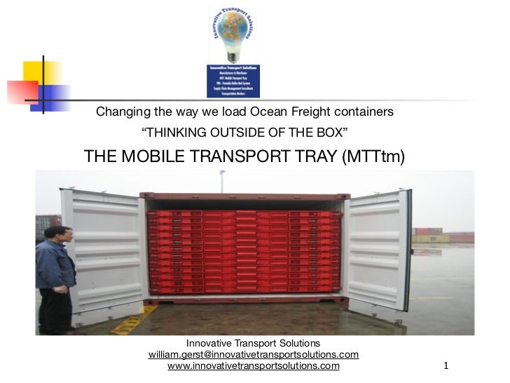 Mobile Transport Tray (MTTtm) Thinking Outside The Box1