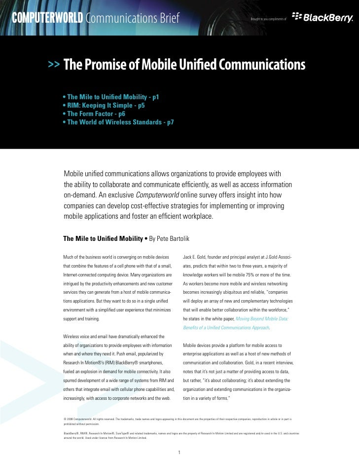 The Promise of Mobile Unified Communications