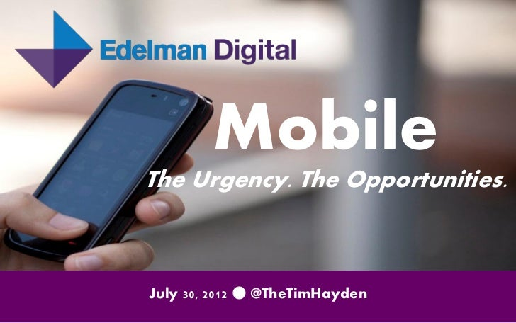 Mobile: The Urgency. The Opportunities.