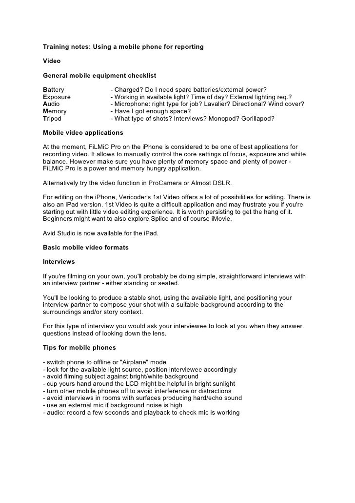Mobile video reporting pdf training notes