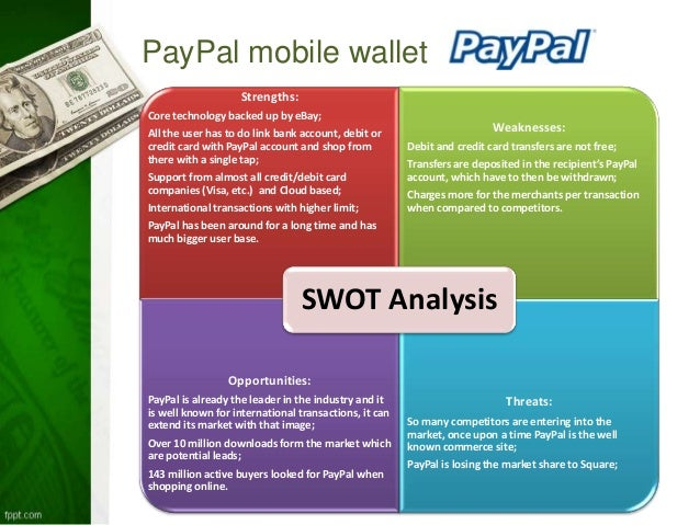 swot analysis of paypal Ebay - swot analysis  (the growing number of mobile shoppers represents a huge growth opportunity for paypal as its one of the few payment systems that meets the.