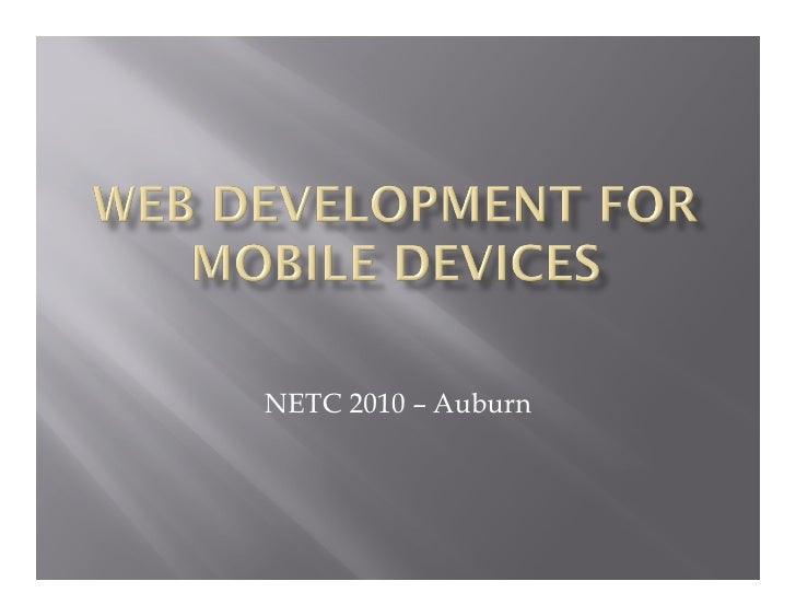 Web Development for Mobile Devices