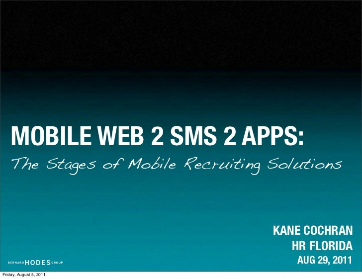 MOBILE WEB 2 SMS 2 APPS:    The Stages of Mobile Recruiting Solutions                                    KANE COCHRAN     ...