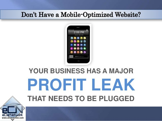 Don't Have a Mobile-Optimized Website? YOUR BUSINESS HAS A MAJOR PROFIT LEAK THAT NEEDS TO BE PLUGGED