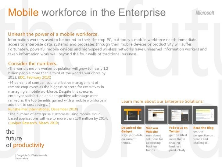 the  future  of  productivity Mobile  workforce   in the Enterprise  Unleash the power of a mobile workforce.  Information...