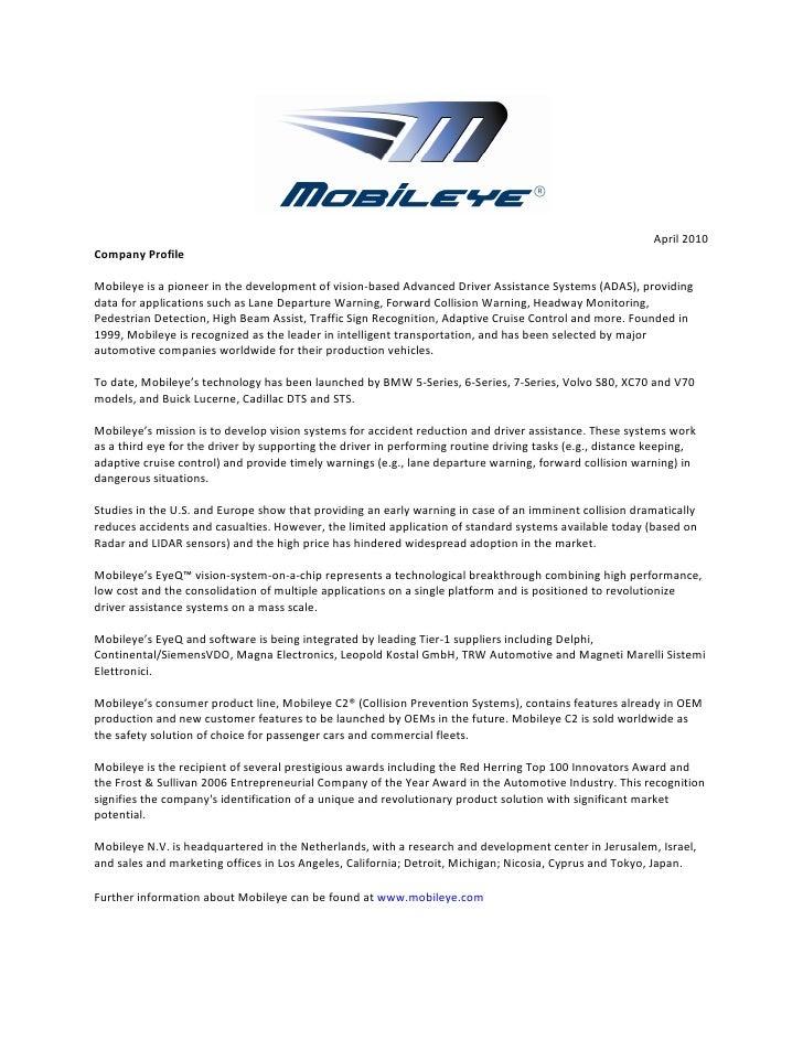 Mobileye - Company Profile