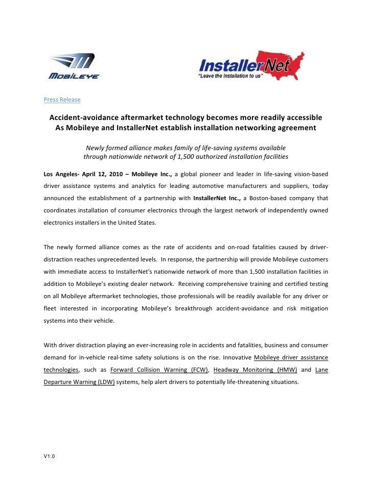 Mobileye & InstallerNet establish installation networking agreement