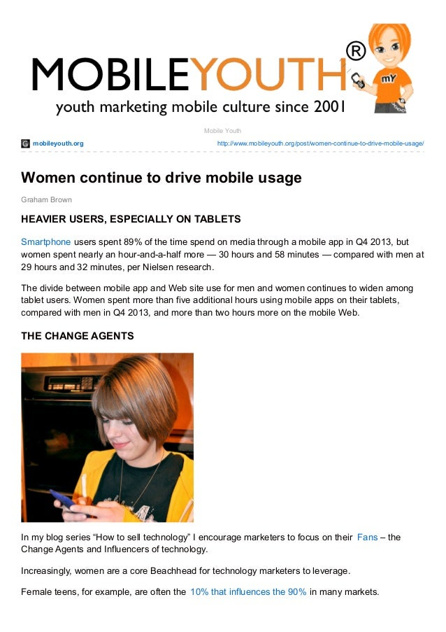 Women continue to drive mobile usage (Graham Brown mobileYouth) DOWNLOAD