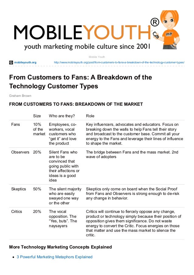 DOWNLOAD: From Customers to Fans: A Breakdown of the Technology Customer Types (Graham Brown mobileYouth)