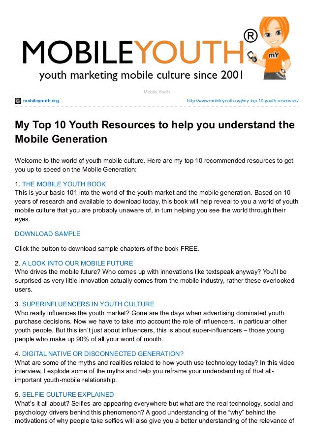My Top 10 Youth Resources to help you understand the Mobile Generation (Graham Brown mobileYouth) DOWNLOAD