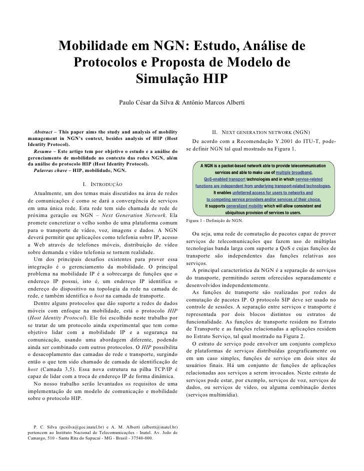 Mobilidade em NGN: Estudo, Análise de Protocolos e Proposta de Modelo de Simulaçâo HIP