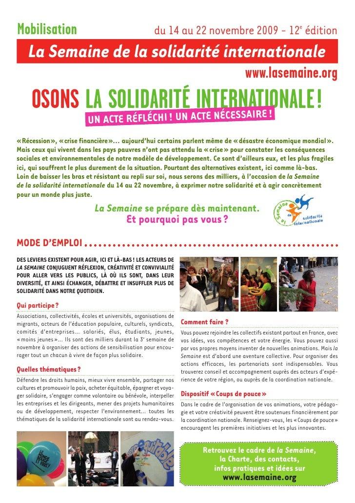 Mobilisation                                               du 14 au 22 novembre 2009 - 12e édition      La Semaine de la s...