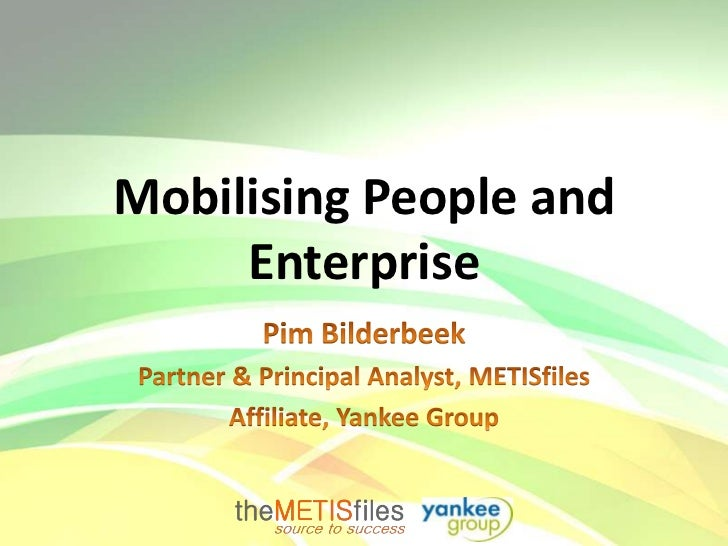 Mobilising People and     Enterprise