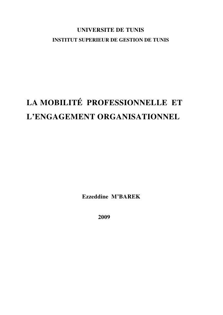 UNIVERSITE DE TUNIS     INSTITUT SUPERIEUR DE GESTION DE TUNIS     LA MOBILITÉ PROFESSIONNELLE ET L'ENGAGEMENT ORGANISATIO...