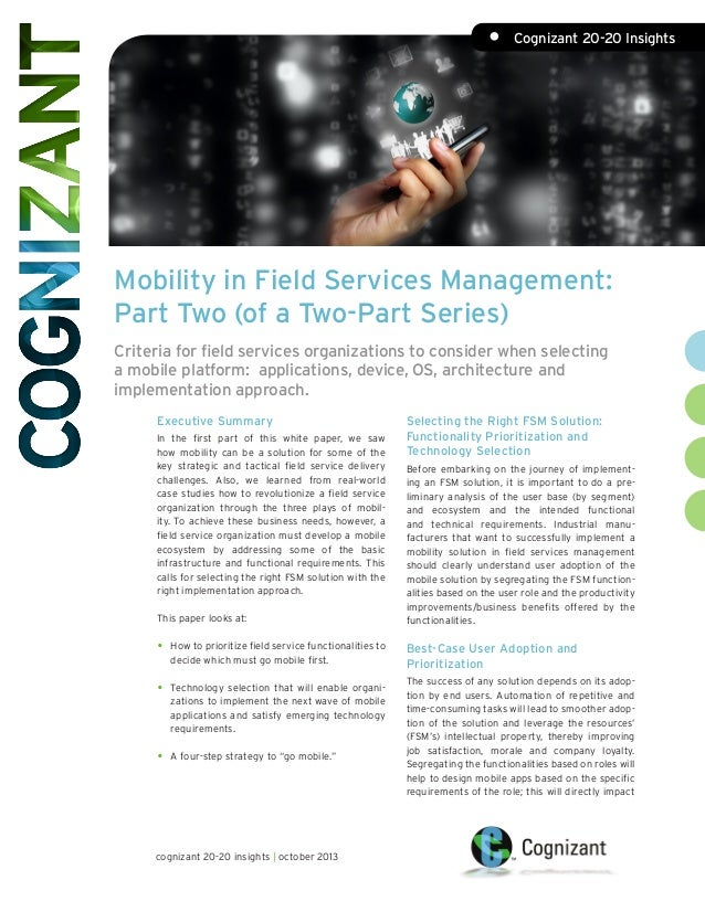 Mobility in Field Services Management: Part Two