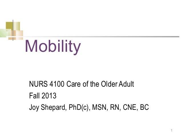 1MobilityNURS 4100 Care of the Older AdultFall 2013Joy Shepard, PhD(c), MSN, RN, CNE, BC