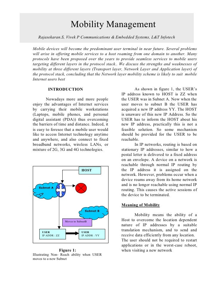 Mobility Management                                      ABSTRACT    Rajasekaran.S, Vivek P Communications & Embedded Syst...