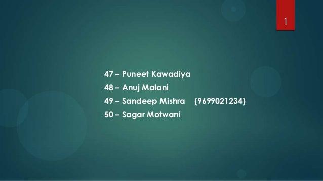 147 – Puneet Kawadiya48 – Anuj Malani49 – Sandeep Mishra    (9699021234)50 – Sagar Motwani