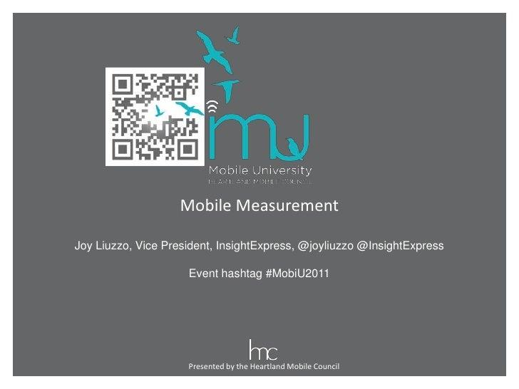 MobiU2011 - ANLT101 Mobile Measurement
