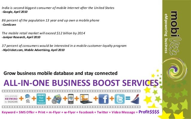 ALL-IN-ONE BUSINESS BOOST SERVICES Grow business mobile database and stay connected India is second-biggest consumer of mo...