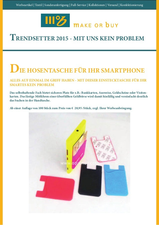 Werbeartikel | Textil | Sonderanfertigung | Full-Service | Kollektionen | Versand | Konfektionierung TRENDSETTER 2015 - MI...
