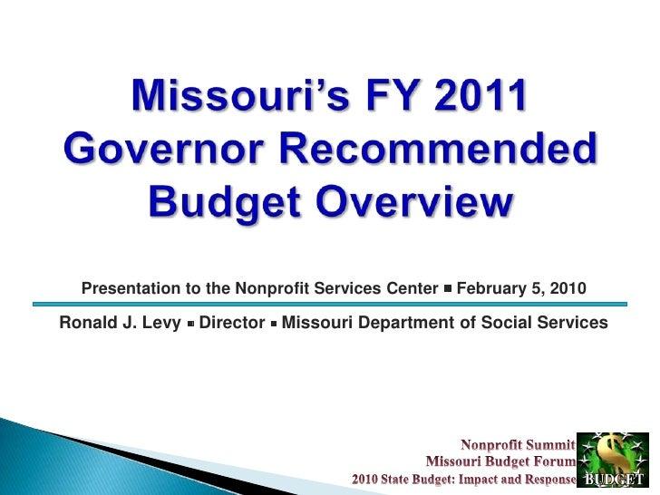 Mo Budget Forum 2010 Budget 2 5 10