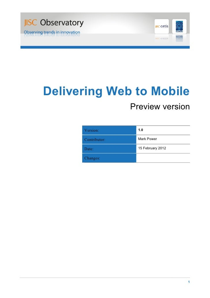 Delivering Web to Mobile. Informe. CETIS