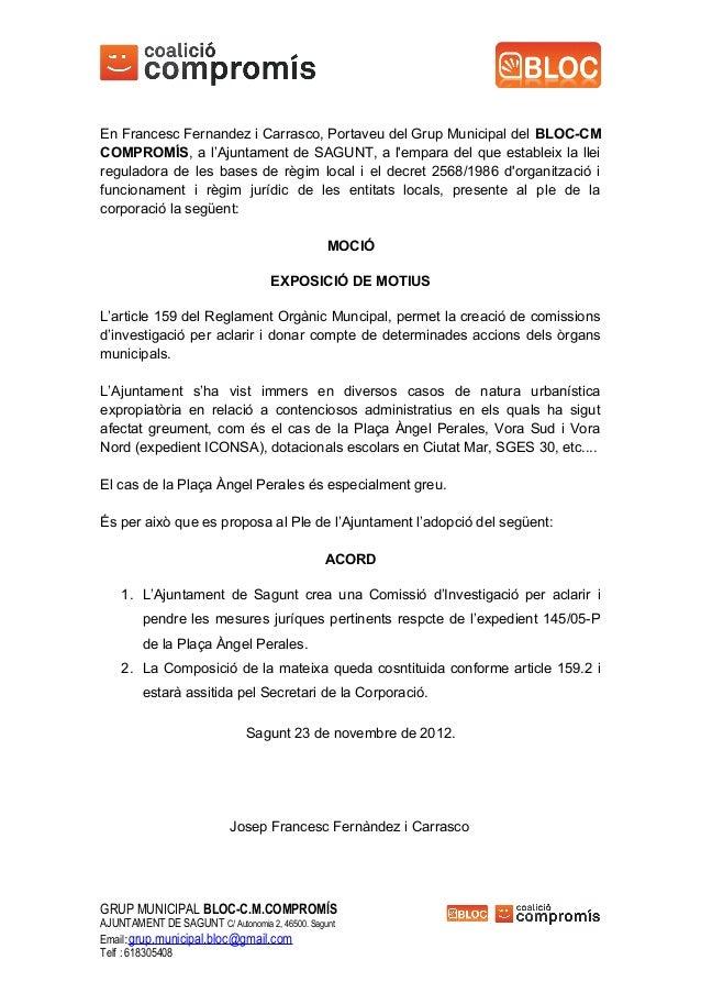 En Francesc Fernandez i Carrasco, Portaveu del Grup Municipal del BLOC-CMCOMPROMÍS, a l'Ajuntament de SAGUNT, a lempara de...