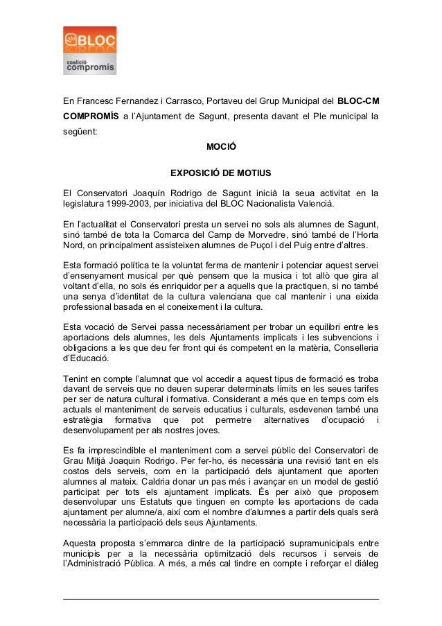En Francesc Fernandez i Carrasco, Portaveu del Grup Municipal del BLOC-CMCOMPROMÍS a l'Ajuntament de Sagunt, presenta dava...