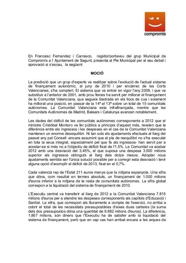 En Francesc Fernandez i Carrasco, regidor/portaveu del grup Municipal deCompromís a l' Ajuntament de Sagunt, presenta al P...