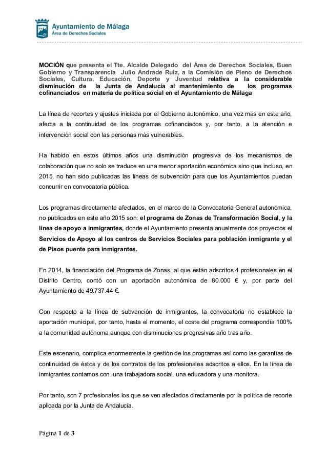 MOCIÓN que presenta el Tte. Alcalde Delegado del Área de Derechos Sociales, Buen Gobierno y Transparencia Julio Andrade Ru...