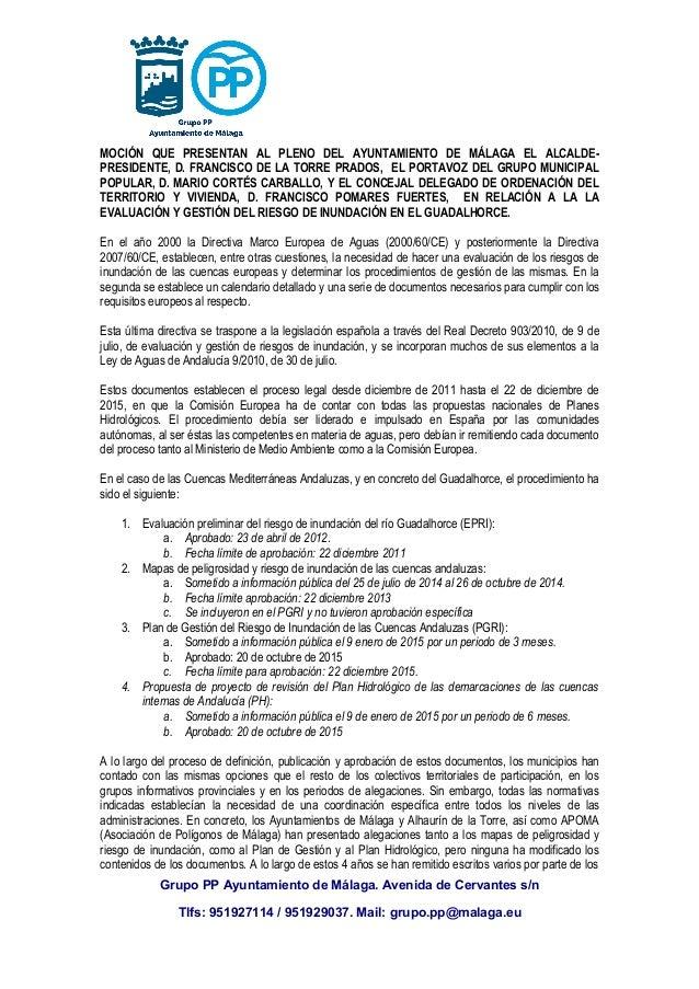 MOCIÓN QUE PRESENTAN AL PLENO DEL AYUNTAMIENTO DE MÁLAGA EL ALCALDE- PRESIDENTE, D. FRANCISCO DE LA TORRE PRADOS, EL PORTA...