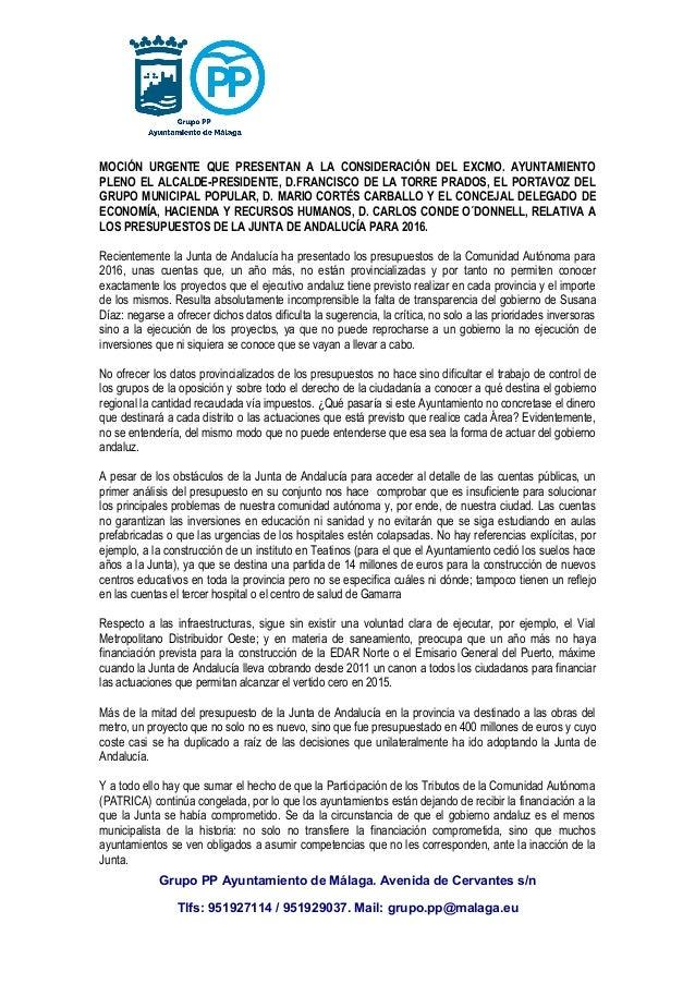 MOCIÓN URGENTE QUE PRESENTAN A LA CONSIDERACIÓN DEL EXCMO. AYUNTAMIENTO PLENO EL ALCALDE-PRESIDENTE, D.FRANCISCO DE LA TOR...
