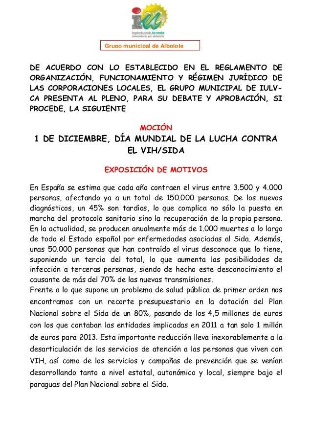 1  Grupo municipal de Albolote  DE ACUERDO CON LO ESTABLECIDO EN EL REGLAMENTO DE ORGANIZACIÓN, FUNCIONAMIENTO Y RÉGIMEN J...