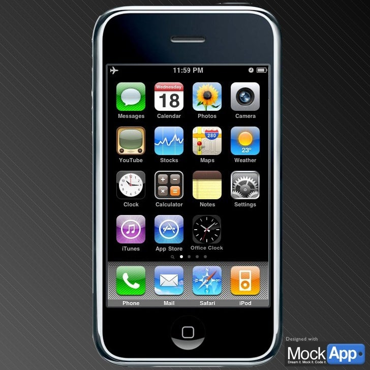 Home Screen This is a default iPhone home screen to start your demos from. In presentation mode, the red icon acts as a bu...