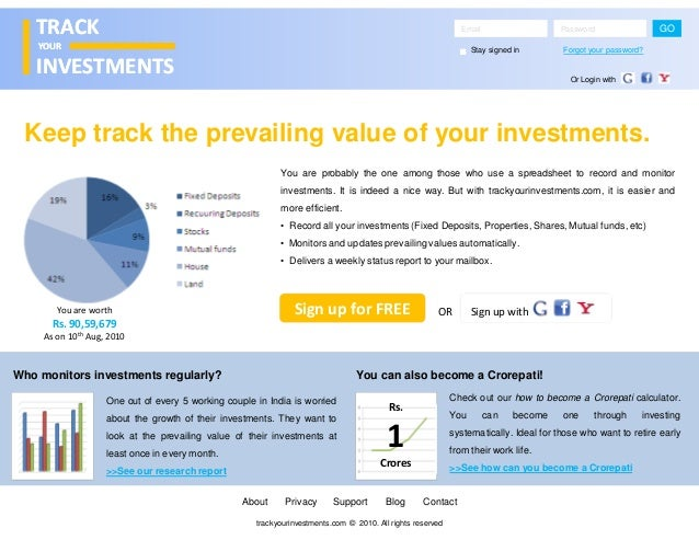 Tracking investments - a product concept