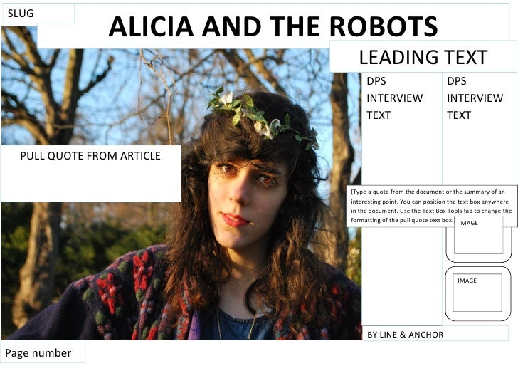 SLUG                ALICIA AND THE ROBOTS                                 LEADING TEXT                                    ...